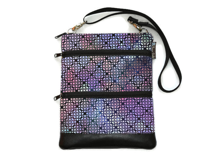 Travel Bags Crossbody Purse - Cross Body - Faux Leather - Tablet Purse -  New Purple Gray Fabric