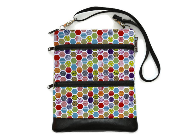 Travel Bags Crossbody Purse - Cross Body - Faux Leather - Tablet Purse -  Hexadelic Fabric