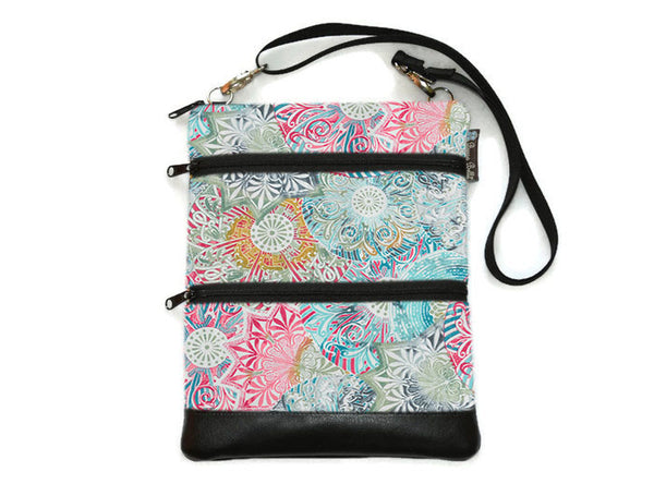 Travel Bags Crossbody Purse - Cross Body - Faux Leather - Tablet Purse -  Spirograph Color Fabric
