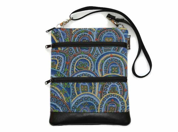 Travel Bags Crossbody Purse - Cross Body - Faux Leather - Tablet Purse - Butterfly Rebirth Fabric