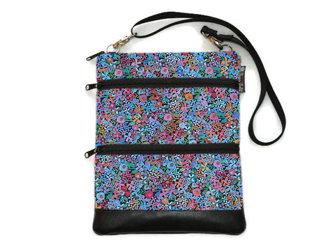Travel Bags Crossbody Purse - Cross Body - Faux Leather - Tablet Purse - Mini Wild Flowers Fabric