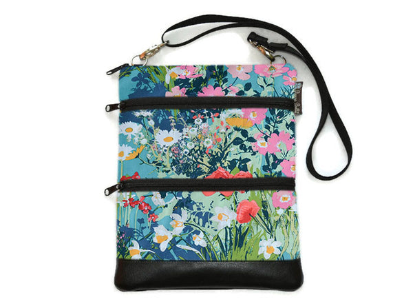 Travel Bags Crossbody Purse - Cross Body - Faux Leather - Tablet Purse - I Come To The Garden Fabric
