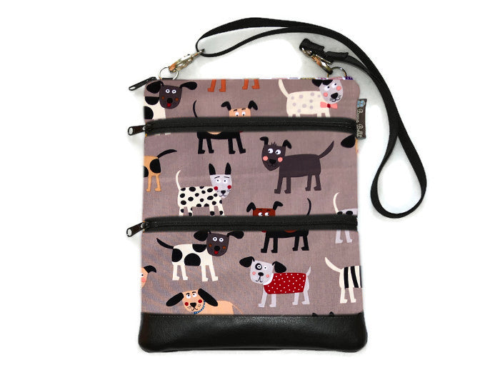 Travel Bags Crossbody Purse - Cross Body - Faux Leather - Tablet Purse -  Dog Gone Delightful Fabric