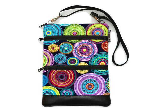 Travel Bags Crossbody Purse - Cross Body - Faux Leather - Tablet Purse - Northern Lights Fabric