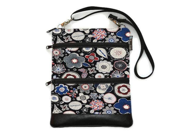 Travel Bags Crossbody Purse - Cross Body - Faux Leather - Tablet Purse -  Doodle Blooms Black Canvas Fabric