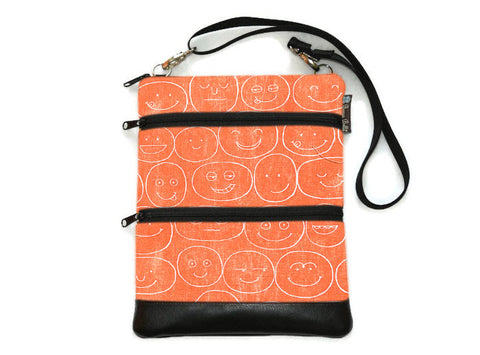 Travel Bags Crossbody Purse - Cross Body - Faux Leather - Tablet Purse -  Orange Canvas Expressions Fabric