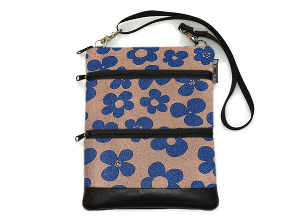 Travel Bags Crossbody Purse - Cross Body - Faux Leather - Tablet Purse -  Blue Bayou Fabric