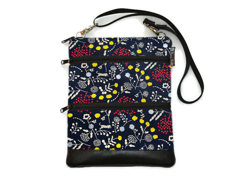 Travel Bags Crossbody Purse - Cross Body - Faux Leather - Tablet Purse -  Sprout Navy Blue and Silver Fabric