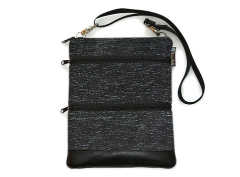 Travel Bags Crossbody Purse - Cross Body - Faux Leather - Tablet Purse -  Midnight Rain Fabric