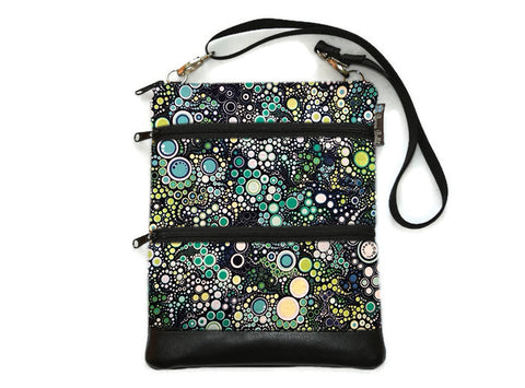 Travel Bags Crossbody Purse - Cross Body - Faux Leather - Tablet Purse -  Ocean Blues Fabric