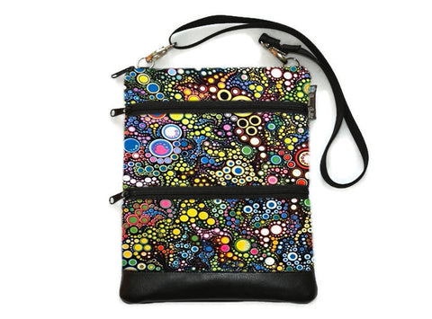 Travel Bags Crossbody Purse - Cross Body - Faux Leather - Tablet Purse -  Caribbean Fabric