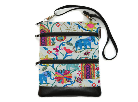 Travel Bags Crossbody Purse - Cross Body - Faux Leather - Tablet Purse - Ellie Fabric