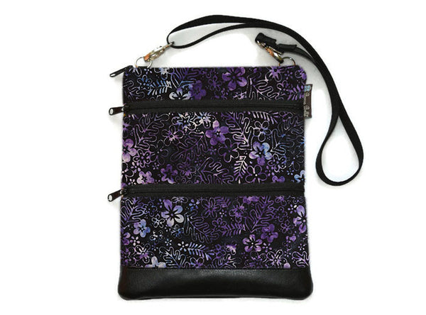 Travel Bags Crossbody Purse - Cross Body - Faux Leather - Tablet Purse -  Midnight Majesty Fabric