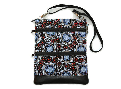 Travel Bags Crossbody Purse - Cross Body - Faux Leather - Tablet Purse -  Sand Dollar Fabric