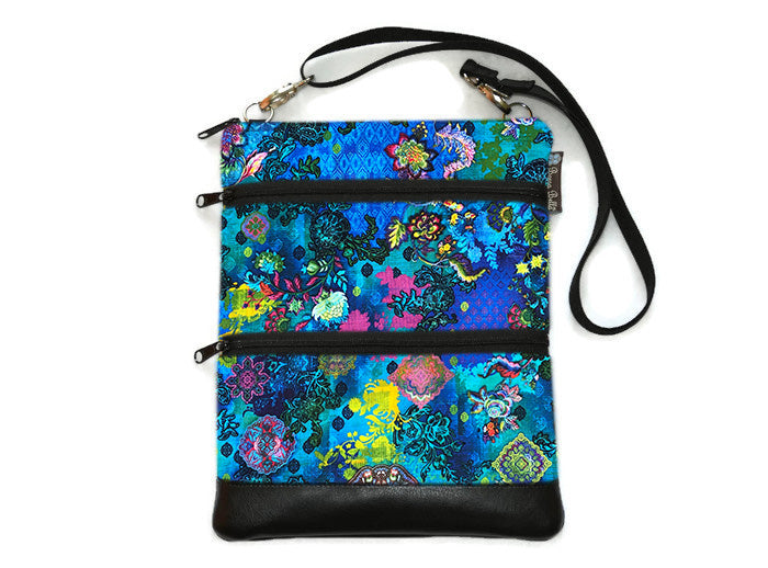 Travel Bags Crossbody Purse - Cross Body - Faux Leather - Tablet Purse -  Bella Blue Fabric
