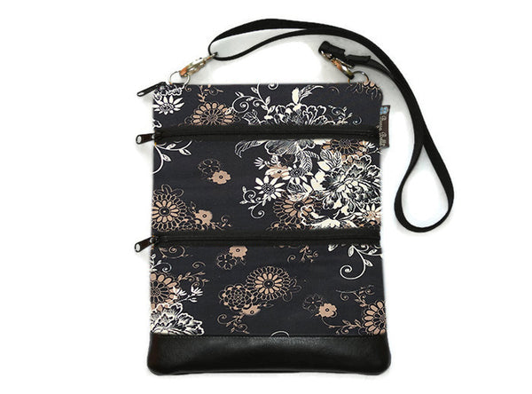 Travel Bags Crossbody Purse - Cross Body - Faux Leather - Tablet Purse -  Black Beauty Fabric