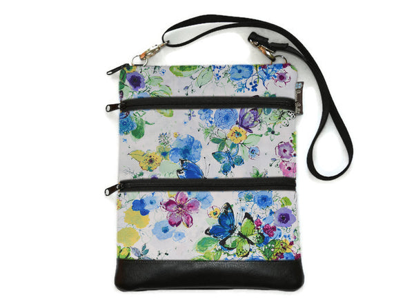 Travel Bags Crossbody Purse - Cross Body - Faux Leather - Tablet Purse - Butterfly Bliss Fabric