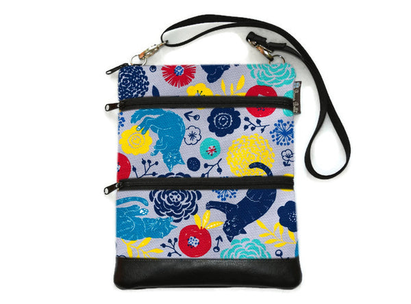 Travel Bags Crossbody Purse - Cross Body - Faux Leather - Tablet Purse -  Daisy Kitty Canvas Fabric