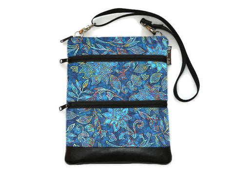 Travel Bags Crossbody Purse - Cross Body - Faux Leather - Tablet Purse -  Electric Blue Fabric