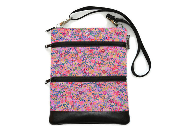 Travel Bags Crossbody Purse - Cross Body - Faux Leather - Tablet Purse - Field of Blooms Fabric