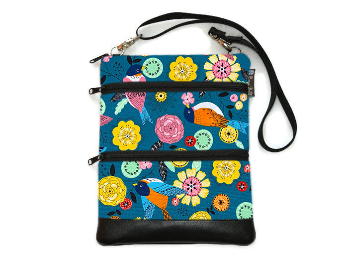 Travel Bags Crossbody Purse - Cross Body - Faux Leather - Tablet Purse -  Garden Party Canvas Fabric