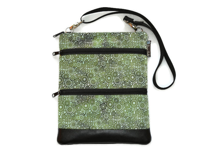 Travel Bags Crossbody Purse - Cross Body - Faux Leather - Tablet Purse - Green Lace Fabric