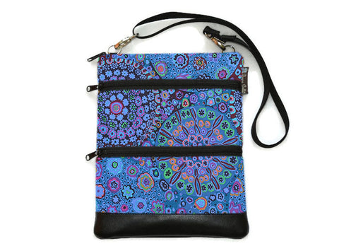 Travel Bags Crossbody Purse - Cross Body - Faux Leather - Tablet Purse -  Murano Glass Fabric