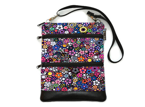 Travel Bags Crossbody Purse - Cross Body - Faux Leather - Tablet Purse -  Glorious Dot Fabric