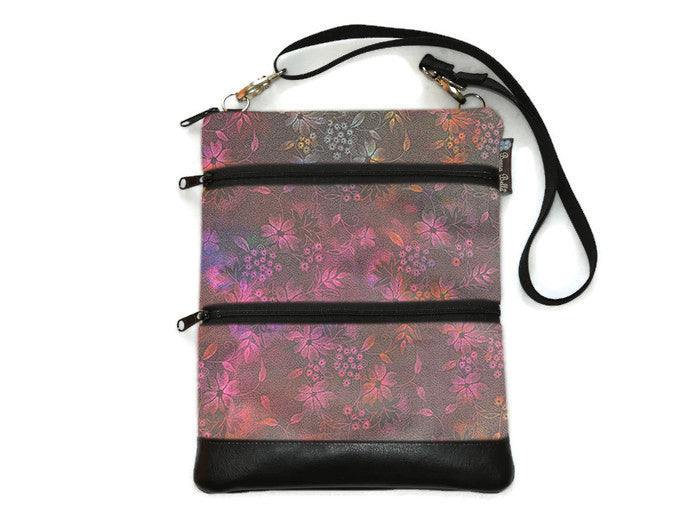 Travel Bags Crossbody Purse - Cross Body - Faux Leather - Tablet Purse -  Night Glow Fabric