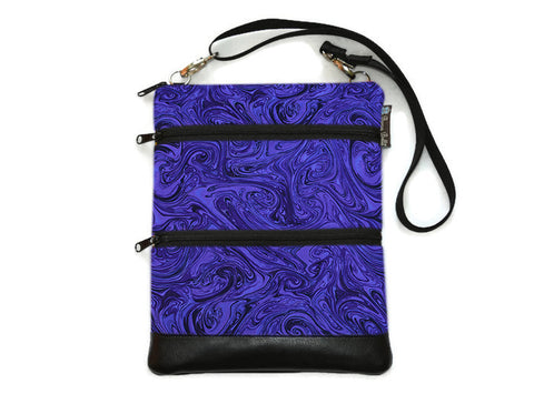 Travel Bags Crossbody Purse - Cross Body - Faux Leather - Tablet Purse -   Purple Marble Fabric