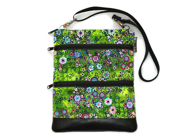 Travel Bags Crossbody Purse - Cross Body - Faux Leather - Tablet Purse -  Verde Fabric