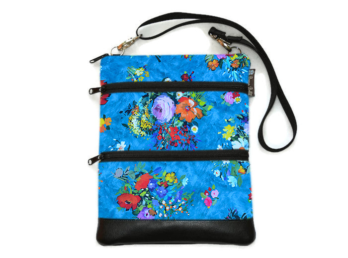 Travel Bags Crossbody Purse - Cross Body - Faux Leather - Tablet Purse -  Watercolor Wonder Fabric