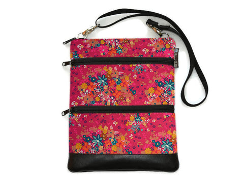 Travel Bags Crossbody Purse - Cross Body - Faux Leather - Tablet Purse -  Winter Pink Fabric