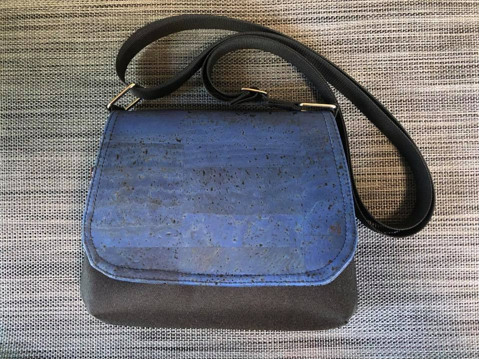 Itsy Bitsy Messenger Purse - Bella Blue Cork Fabric