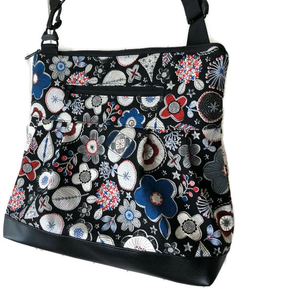Hobo Purse Cross Body - Shoulder Bag - Doodle Flower Canvas Black  Fabric