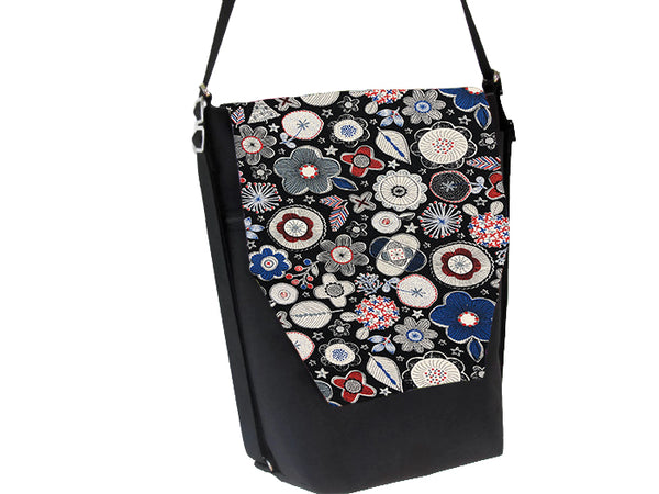 Convertible Backpack Bag -  Doodle Blooms Black Canvas Fabric