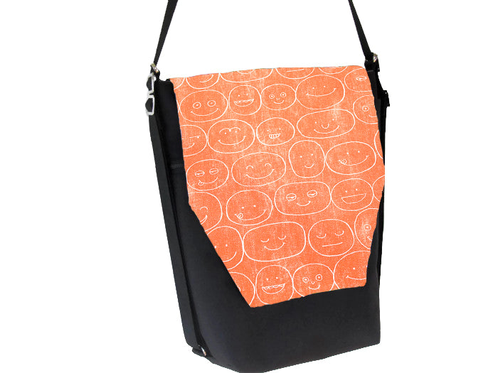 Convertible Backpack Bag -  Orange Expression Canvas Fabric