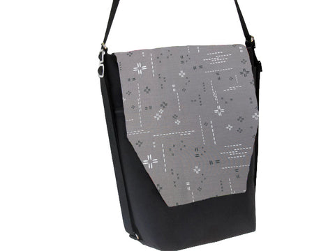 Convertible Backpack Bag -  Crosshatch Gray Fabric