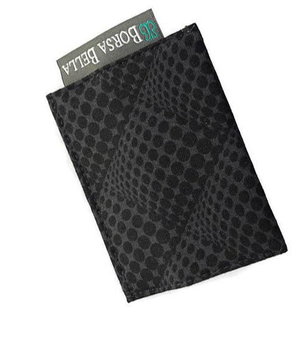 Card Holder RFID Protected -   Black Pop Dots Fabric