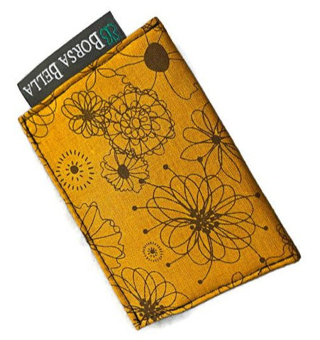 Card Holder RFID Protected -   Autumn Yellow Fabric