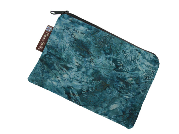 Catch All Zippered Pouch - Serenity Batik Fabric