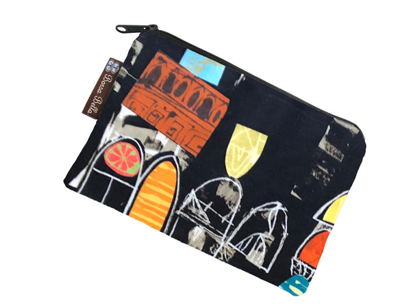 Catch All Zippered Pouch - Art Deco Fabric