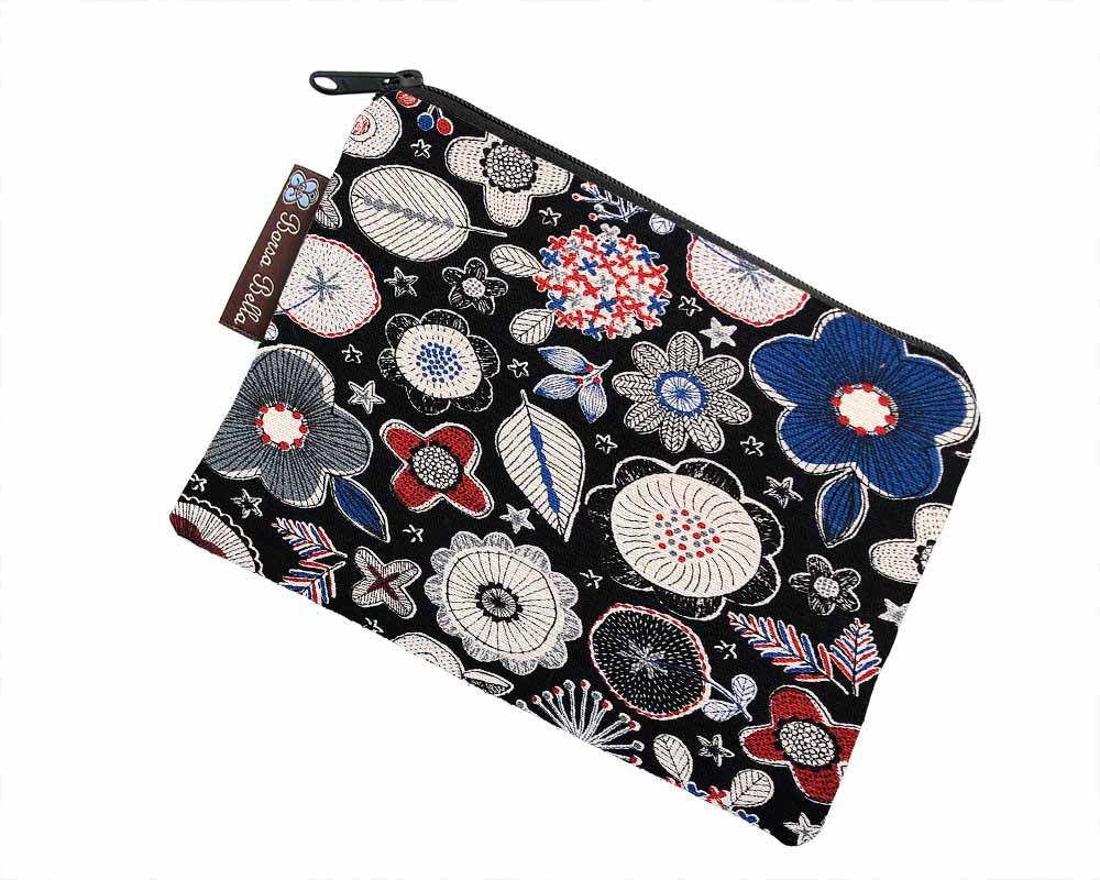 Catch All Zippered Pouch - Doodle Flower Canvas Fabric in Black