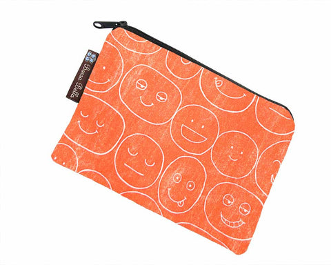 Catch All Zippered Pouch - Orange Expression Canvas Fabric