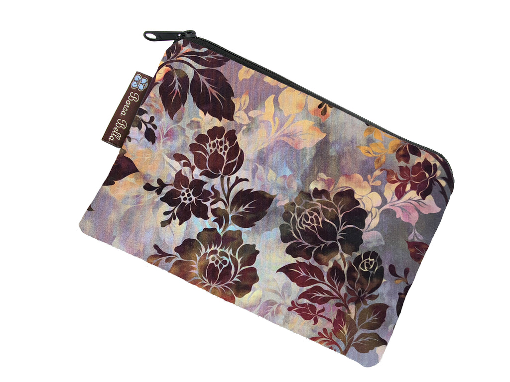 Catch All Zippered Pouch - New Colorful Brown  Fabric