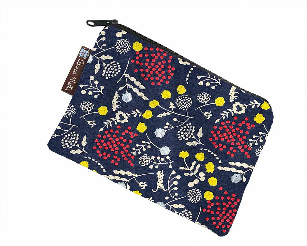 Catch All Zippered Pouch - Sprout Blue/Silver Fabric