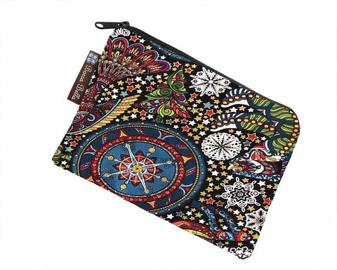 Catch All Zippered Pouch - Celestial Winter Fabric