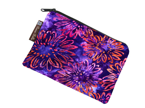 Catch All Zippered Pouch - New Purple Batik  Fabric