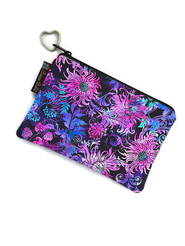 Catch All Zippered Pouch - Floragraphics Purple Fabric