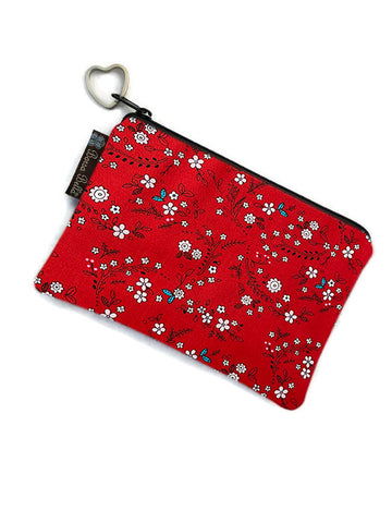 Catch All Zippered Pouch - Sweet Red Fabric